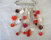 Buttons jewelry - silvertone  brooch ,kilt pin - red buttons and beads with silver plated charms