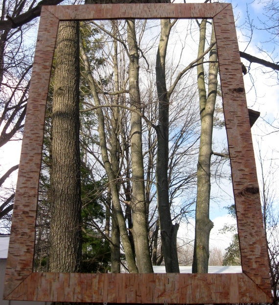 Birch Bark  Home Decor  Trimmed Mirror