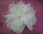 White Silk Poppy Bridal Fabric Flower Pin