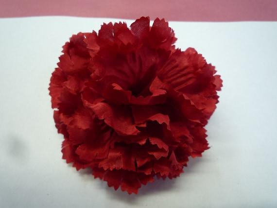 Classy Red Silk Carnation Fabric Flower Pin