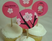 Printable Pink Sakura Birthday Cupcake Toppers