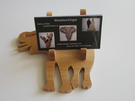 Wooden elephant business card holder, eye glasses, or recipe holder for home or office african decor