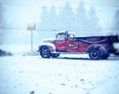 8 X 10 Print of Snowy Firetruck