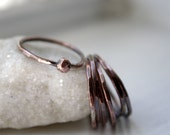 Slender Copper Stacking Rings, Rustic, Slim, Seamless, Boho Rings