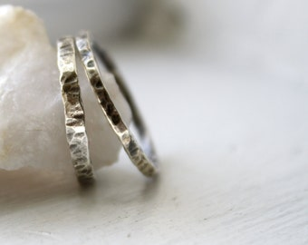 Rustic Sterling Silver Stacking Bands, Sterling Silver Oxidized Rings, Stacking Rings, His and Her Silver Friendship Bands, His and Hers