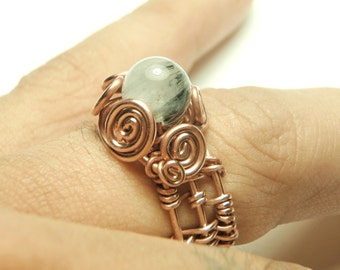Wire Ring hadmade, copper wrap ring, QUARTZ rings copper jewelry