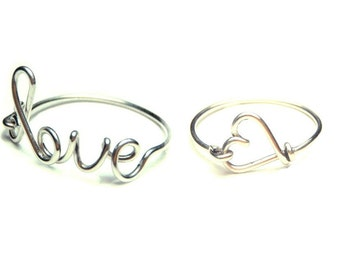 two love wire rings- special offer- sterling silver love and heart rings