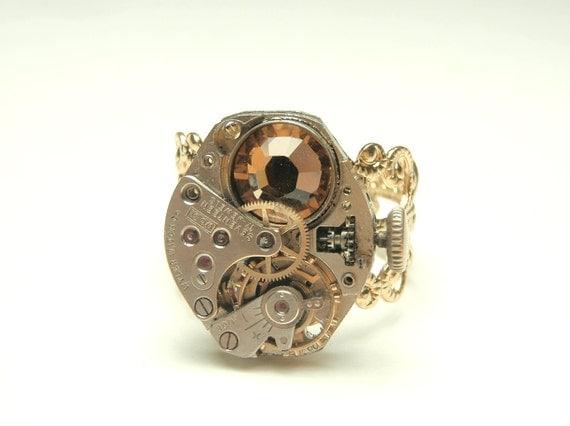 steampunk swiss watch movement ring- filigree ring- watch work- keoops8 jewelry