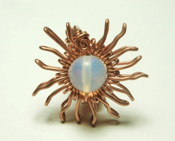 SUN copper wire ring- opal stone- wrapped on copper wire- handmade rings by Dereck Maltez