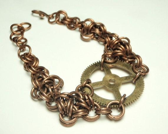 steampunk copper wire bracelet- large gear rings copper wire industrial