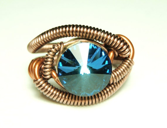 Bullet Casing wire ring - steampunk jewelry - cathedral blue swarovski crystal - steampunk ring by Dereck Maltez