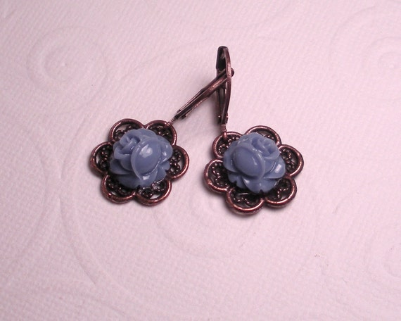 Periwinkle Blue Resin Rose Cabochon Antique Copper Earrings-Made to Order