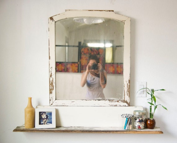 SALE - Vintage 1930s Upcycled Rustic Mirror