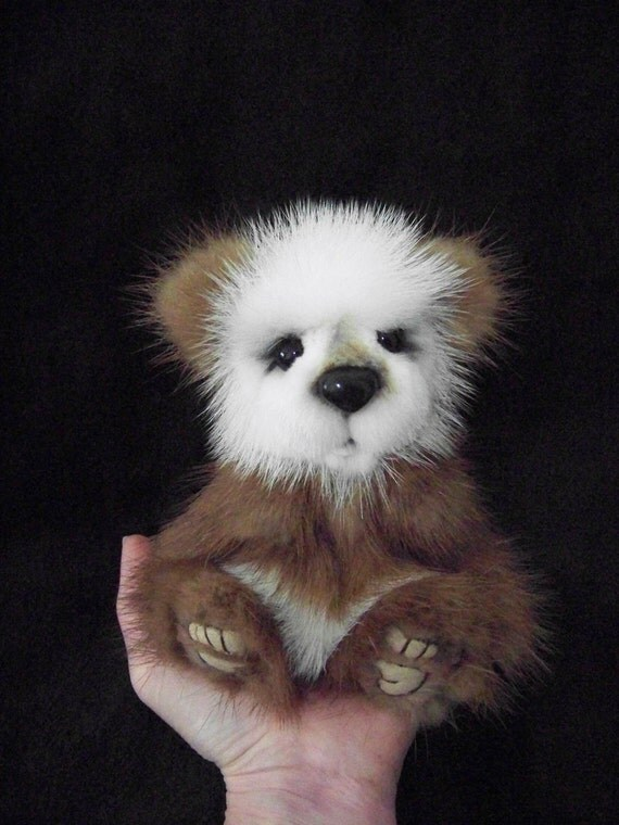 Tidbit an Artist Up-Cycled Mink Jointed Teddy Bear Cub   Layaway Available