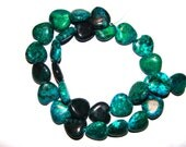 Heart Shaped Azurite Chrysocolla Beads 16mm x 16mm Strand is 16 Inches