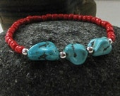 Native American Coral and Turquoise Beaded Bracelet