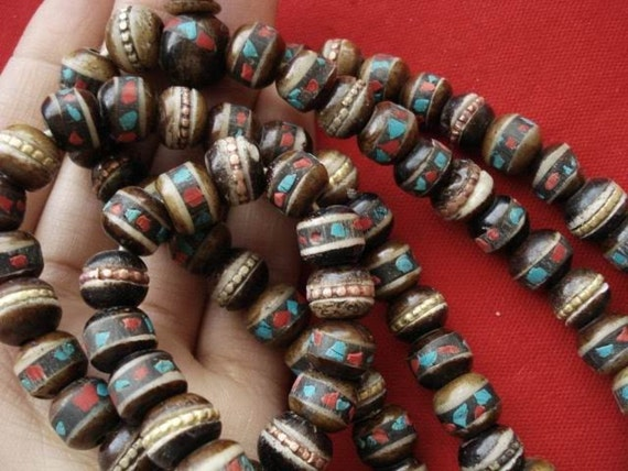 Traditional Tibetan Mala 108 Beads Bone Coral Turquoise Impermanence Meditation