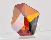 Copper Extra Large Swarovski Crystal Cocktail Ring - Adjustable Band, Sizes 6-9