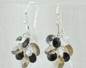 Handmade Swarovski Crystal Cluster Earrings - Greige Grey, Jet Black and Clear - Sterling Silver Earwires