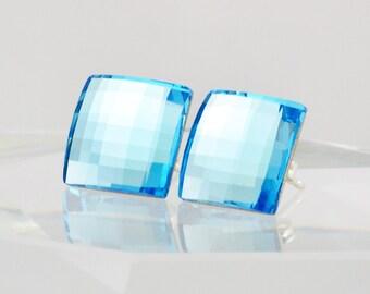 Square Crystal Earrings, Swarovski Stud Earrings, Swarovski Crystal, Sterling Silver Post Earrings, Aquamarine Blue, March Birthstone