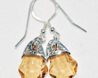 Golden Shadow Drop Earrings, Swarovski Crystal Earrings, Sterling Silver