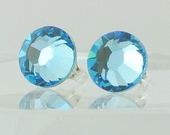 aquamarine blue swarovski post earrings stud