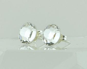 Clear Handmade Swarovski Crystal Post Earrings - Sterling Silver