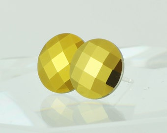 Sterling Silver Post Earrings, Gold Swarovski Crystal Earrings, Round, Handmade