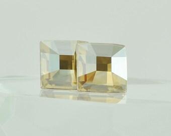 Handmade Swarovski Crystal Mosaic Post Earrings in Golden Shadow - Sterling Silver