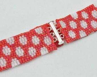 Red and White Polka Dot Beaded Bracelet, Peyote Bracelet, Woven Bracelet, Silver Clasp, JAMJewelryShop
