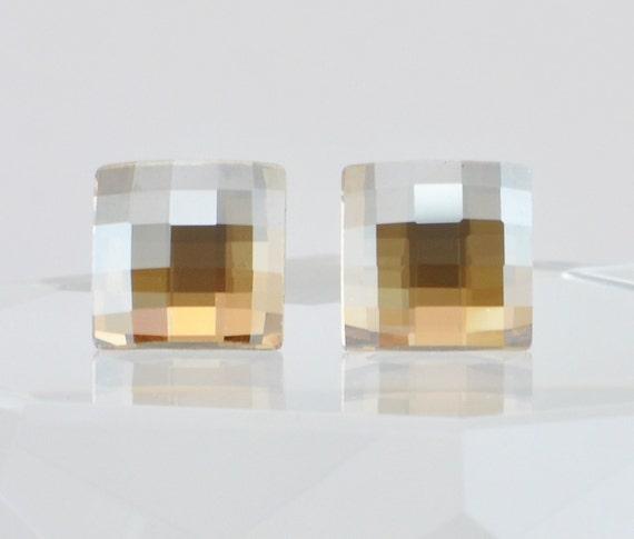 Golden Shadow Swarovski Crystal Stud Earrings - Square Chessboard Design - Sterling Silver