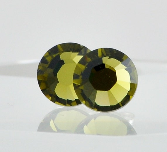 Olive Green Swarovski Crystal Post Earrings, Sterling Silver, Khaki Green, Bridesmaid Jewelry, Faceted Round Stud Earrings for Pierced Ears