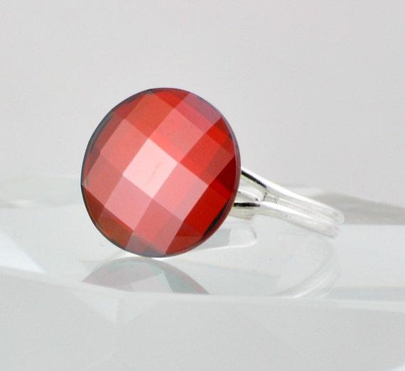 Red Magma Round Swarovski Crystal Cocktail Ring, Size 6 - 9, Adjustable Band