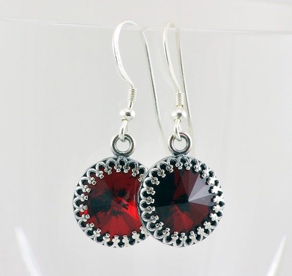 Dark Red, Swarovski Crystal Victorian Drop Earrings, Crystal Earrings, Victorian Earrings, Sterling Silver