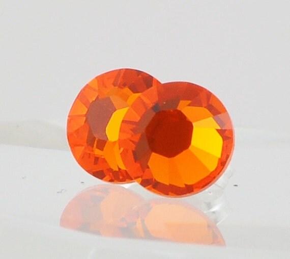 Post Earrings, Sunshine Bright Orange Swarovski Crystal Stud Earrings, Sterling Silver