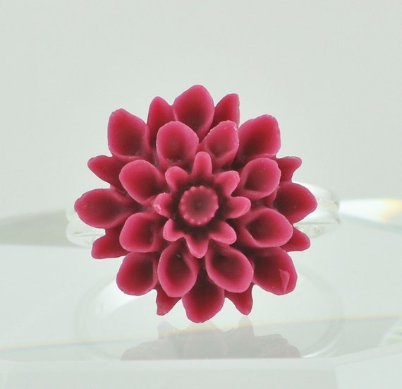 Maroon Dahlia Resin Flower Ring - Sterling Silver Adjustable Band