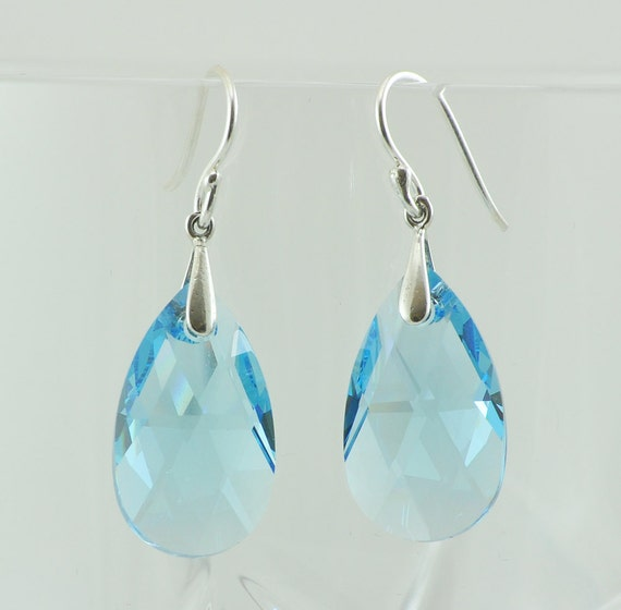 Aquamarine Swarovski Crystal Teardrop Earrings, Crystal Earrings, Swarovski Earrings, Sterling Silver Accents