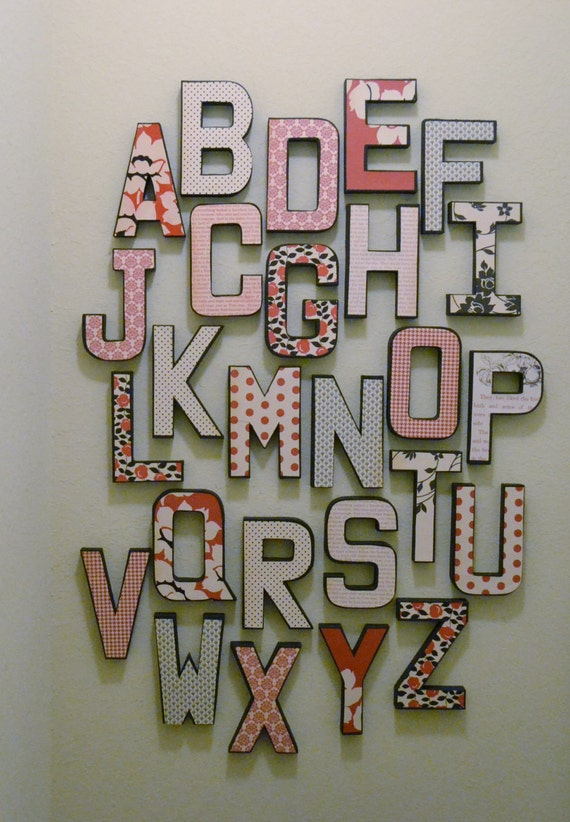 items similar to alphabet wall letters abc home decor