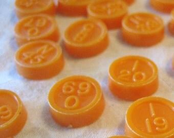 20 Orange Vintage Bingo Numbers