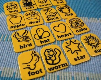 16 Yellow Plastic Graphic Tags from Zingo Game