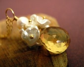 Citrine and Keshi Pearl Necklace in Gold  Swamp Fire Necklace by dirty rice designs