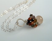 Champagne Citrine Necklace in Silver with Tourmaline Gemstones by dirty rice on etsy