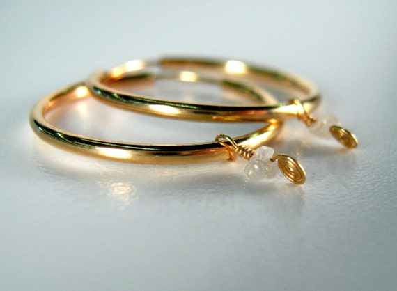 Diamond Earrings Raw Diamond Nuggets on Gold Filled Hoops by dirty rice on etsy