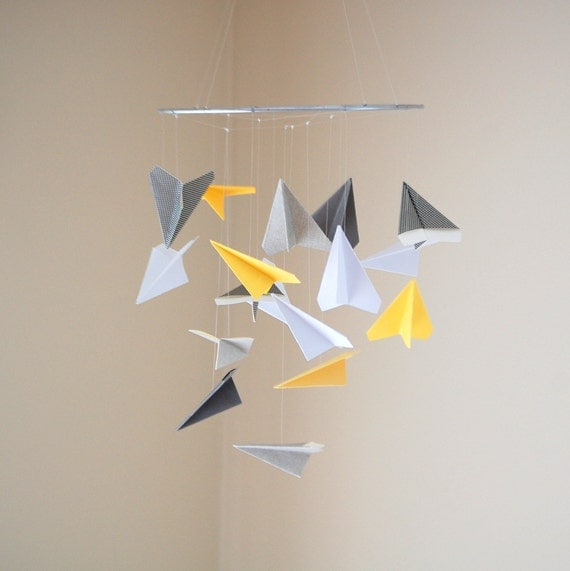 Cute Paper Airplane Mobile - Choice of Colors