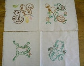 SALE Vintage Hand Embroidered Quilt Squares Set of 4