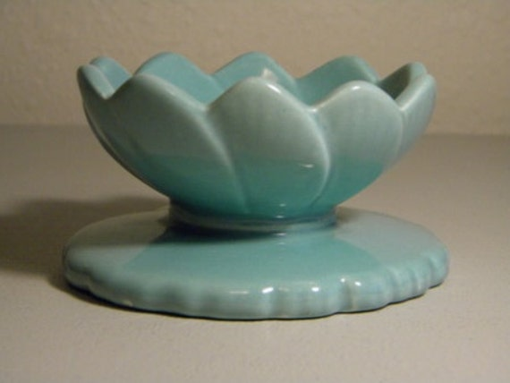 Vintage Haeger Blue Lotus Style Candle Holder