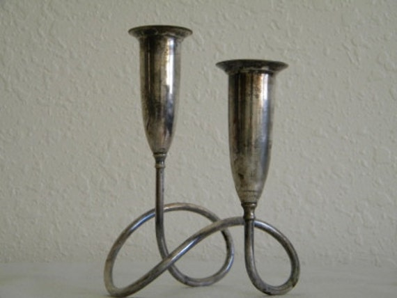 Two-Tiered Silver Candle Stick Holder