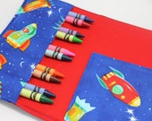 Spaceship crayon wallet with 4 x 6 notepad and 10 crayons - tri-fold - 1 FREE spaceship crayon