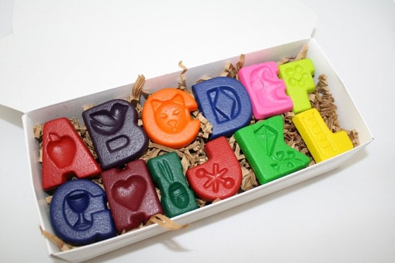 Fun letter crayons - twenty six (26) -  complete set of alphabet letters in assorted colors