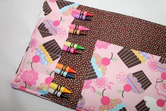 Pink cupcake crayon wallet with 4 x 6 notepad and 10 crayons - tri-fold - 1 FREE cupcake crayon